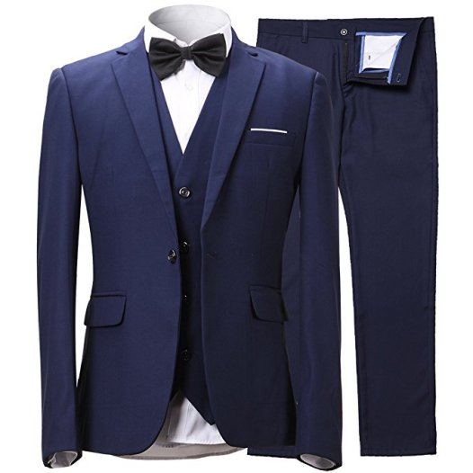 INFLATION Men's Slim 3-Piece Suit Blazer Dress