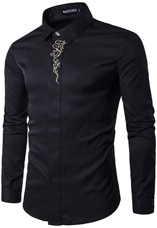 Whatlees Mens Long Sleeve Design Dress Shirt