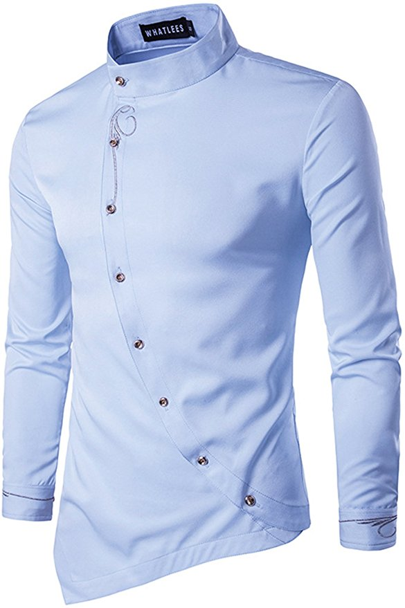 Whatlees Mens Long Sleeve Design Dress Shirt