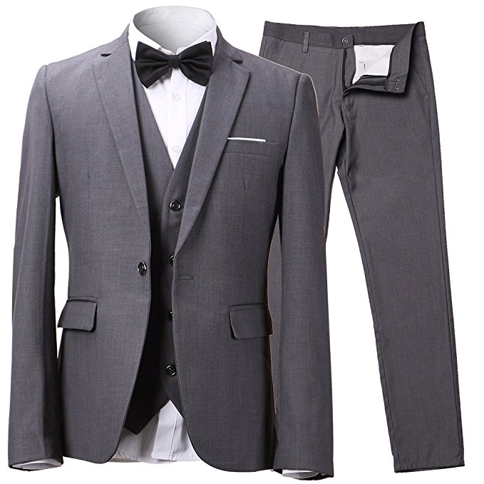 INFLATION Men's Slim 3-Piece Suit Blazer Dress